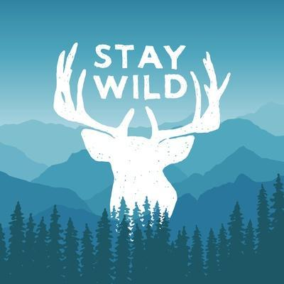 Hand Drawn Wilderness Typography Poster with Deer and Pine Trees. Stay Wild. Artwork for Hipster We-igorrita-Framed Art Print