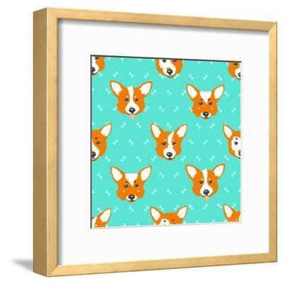 Happy Dog Welsh Corgi Orange and Aquamarine Vector Background. Seamless Pattern.- Guu-Framed Art Print