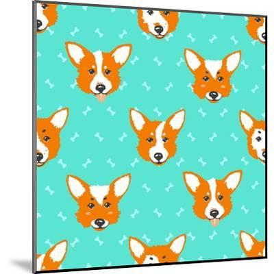Happy Dog Welsh Corgi Orange and Aquamarine Vector Background. Seamless Pattern.- Guu-Mounted Art Print