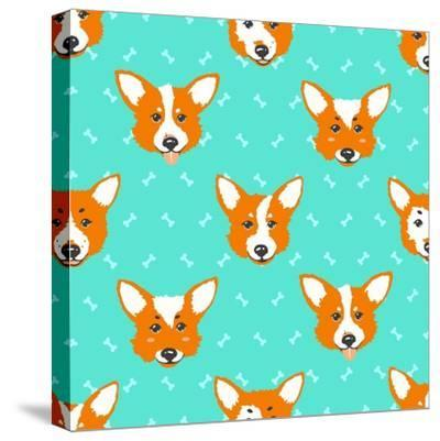 Happy Dog Welsh Corgi Orange and Aquamarine Vector Background. Seamless Pattern.- Guu-Stretched Canvas Print