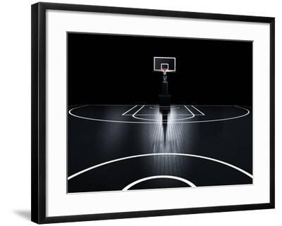 Basketball Court. Photorealistic 3D Illustration of a Sport Arena Background-Serg Klyosov-Framed Art Print
