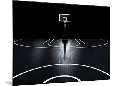 Basketball Court. Photorealistic 3D Illustration of a Sport Arena Background-Serg Klyosov-Mounted Art Print