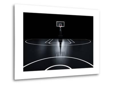 Basketball Court. Photorealistic 3D Illustration of a Sport Arena Background-Serg Klyosov-Metal Print