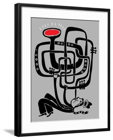 Trumpeter Play a Long Weird Trumpet with Passion-Complot-Framed Art Print