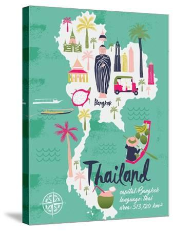 Cartoon Map of Thailand. Print Design-Lavandaart-Stretched Canvas Print