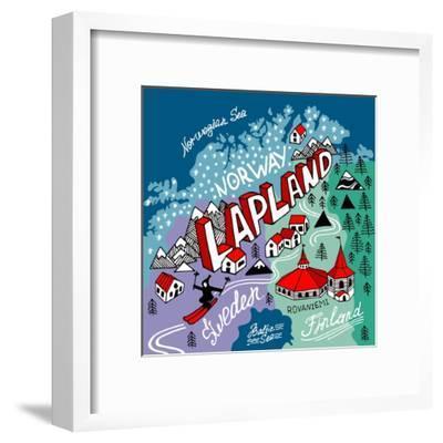 Illustrated Map of Lapland-Daria_I-Framed Art Print