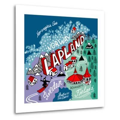 Illustrated Map of Lapland-Daria_I-Metal Print