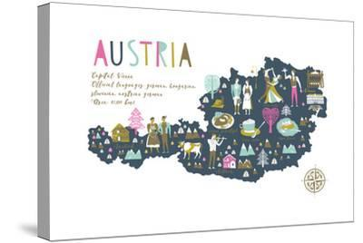 Cartoon Map of Austria with Legend Icons-Lavandaart-Stretched Canvas Print