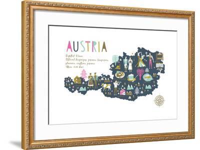 Cartoon Map of Austria with Legend Icons-Lavandaart-Framed Art Print