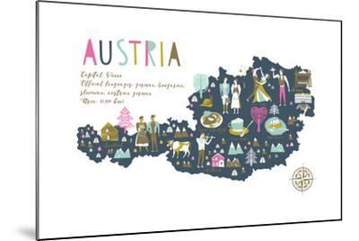Cartoon Map of Austria with Legend Icons-Lavandaart-Mounted Art Print