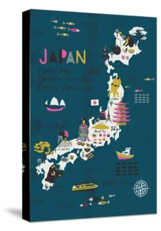 Cartoon Map of Japan. Print Design-Lavandaart-Stretched Canvas Print