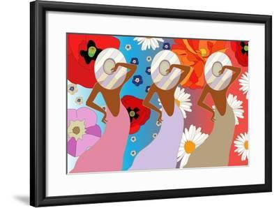 Abstract Pattern of Women in Dresses Color ( Rose, Lilac, Green) and Striped Hats on a Floral Backg-Viktoriya Panasenko-Framed Art Print