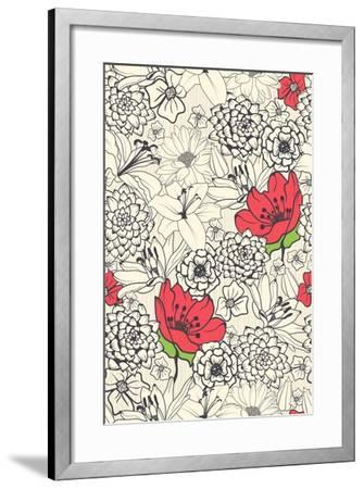 Seamless Floral Pattern with Red Flowers on Monochrome Background- DeMih-Framed Art Print