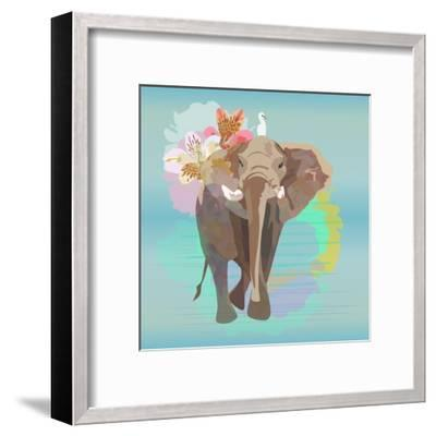 Abstract Watercolor Illustration of a Big Elephant with Small White Bird , Background Sky and the R-Viktoriya Panasenko-Framed Art Print