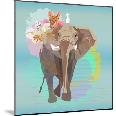 Abstract Watercolor Illustration of a Big Elephant with Small White Bird , Background Sky and the R-Viktoriya Panasenko-Mounted Art Print