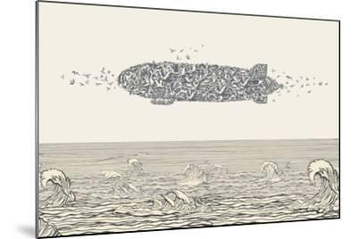 Birds Flock in Zeppelin Formation above the Sea-RYGER-Mounted Art Print