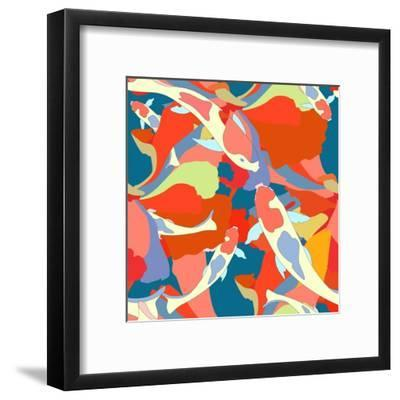 Abstract Illustration Fish Koi (Japanese, Chinese Carp) in Pond with Floral Colorful Algae (The Col-Viktoriya Panasenko-Framed Art Print