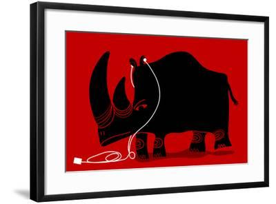 Rhino with a White Portable Music Device and Headphones-Complot-Framed Art Print