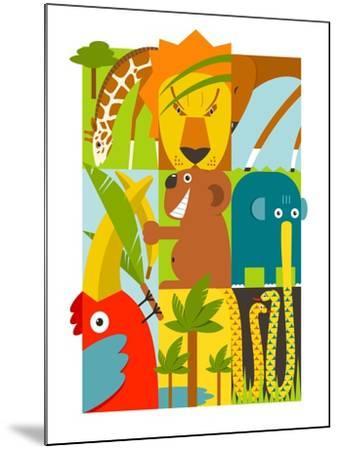 Flat African Animals Symbols Set. Giraffe Lion Elephant Toucan Gazelle Palm. Vector Illustration EP-Popmarleo-Mounted Art Print