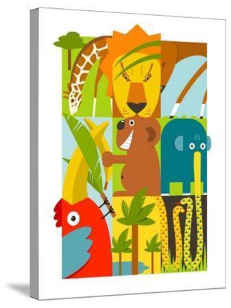 Flat African Animals Symbols Set. Giraffe Lion Elephant Toucan Gazelle Palm. Vector Illustration EP-Popmarleo-Stretched Canvas Print
