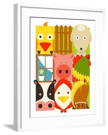 Flat Childish Rectangular Cattle Farm Animals Set. Animals Design Collection. Vector Layered Eps8 I-Popmarleo-Framed Art Print
