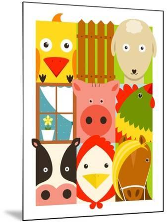 Flat Childish Rectangular Cattle Farm Animals Set. Animals Design Collection. Vector Layered Eps8 I-Popmarleo-Mounted Art Print