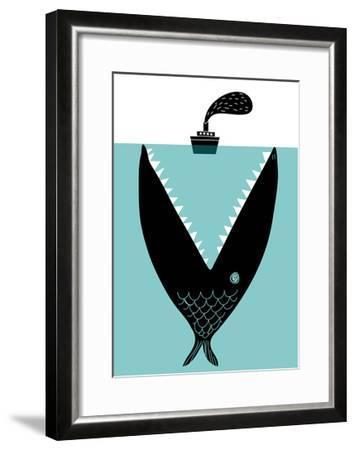 Big Fish Devouring a Ship-Complot-Framed Art Print