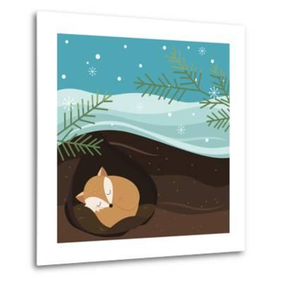Let it Snow. Fox Sleeping in a Hole. Holiday Background. Christmas Vector.-Teamarwen-Metal Print