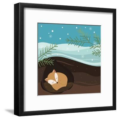 Let it Snow. Fox Sleeping in a Hole. Holiday Background. Christmas Vector.-Teamarwen-Framed Art Print