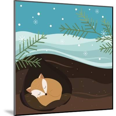Let it Snow. Fox Sleeping in a Hole. Holiday Background. Christmas Vector.-Teamarwen-Mounted Art Print