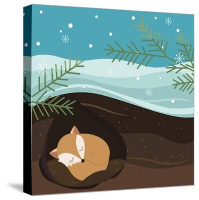 Let it Snow. Fox Sleeping in a Hole. Holiday Background. Christmas Vector.-Teamarwen-Stretched Canvas Print