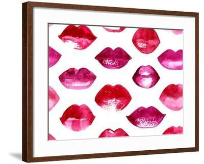 Seamless Vector Pattern with Red Watercolor Lips-Jet-Framed Art Print