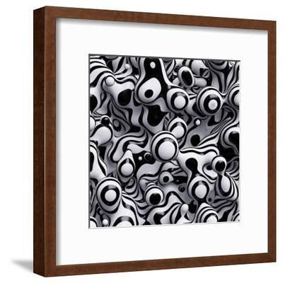 3D Abstract Wavy Bubbles Background, Zebra Balls, Colored Striped Fordite Shapes-wacomka-Framed Art Print