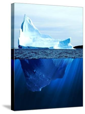 A Large Iceberg in the Cold Blue Cold Water. Collage-Sergey Nivens-Stretched Canvas Print