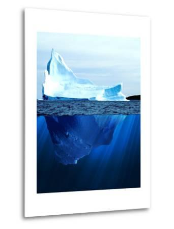 A Large Iceberg in the Cold Blue Cold Water. Collage-Sergey Nivens-Metal Print
