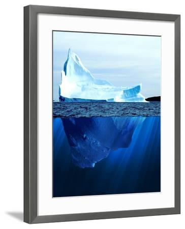 A Large Iceberg in the Cold Blue Cold Water. Collage-Sergey Nivens-Framed Art Print