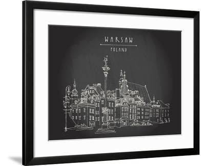 Castle Square in Old Center of Warsaw, Poland. Historic Buildings. Travel Sketch, Hand Lettering. W-babayuka-Framed Art Print