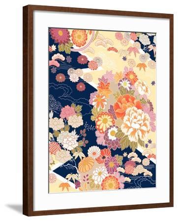 Traditional Kimono Motifs- malamalama-Framed Art Print