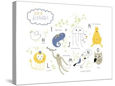 Zoo Alphabet - H, I, J, K, L M, N, O Letters-Lera Efremova-Stretched Canvas Print
