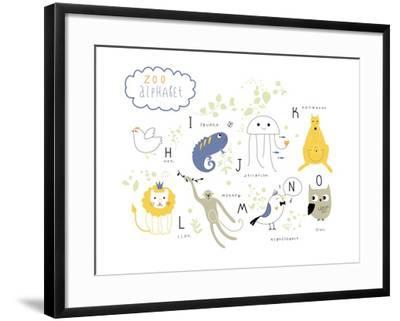 Zoo Alphabet - H, I, J, K, L M, N, O Letters-Lera Efremova-Framed Art Print