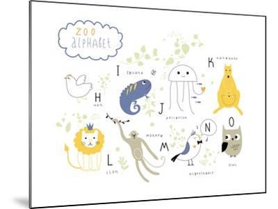 Zoo Alphabet - H, I, J, K, L M, N, O Letters-Lera Efremova-Mounted Art Print