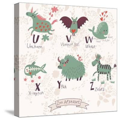 Cute Zoo Alphabet in Vector. U, V, W, X, Y, Z Letters. Funny Animals in Love. Unicorn, Vampire Bat,-smilewithjul-Stretched Canvas Print