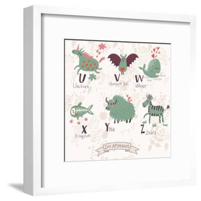 Cute Zoo Alphabet in Vector. U, V, W, X, Y, Z Letters. Funny Animals in Love. Unicorn, Vampire Bat,-smilewithjul-Framed Art Print