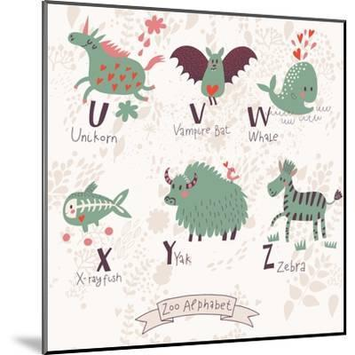 Cute Zoo Alphabet in Vector. U, V, W, X, Y, Z Letters. Funny Animals in Love. Unicorn, Vampire Bat,-smilewithjul-Mounted Art Print