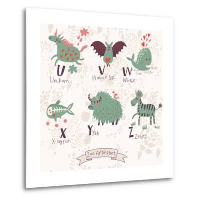 Cute Zoo Alphabet in Vector. U, V, W, X, Y, Z Letters. Funny Animals in Love. Unicorn, Vampire Bat,-smilewithjul-Metal Print