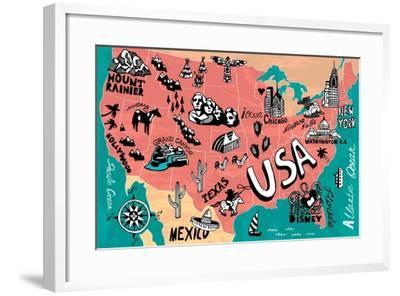 Illustrated Map of USA-Daria_I-Framed Art Print