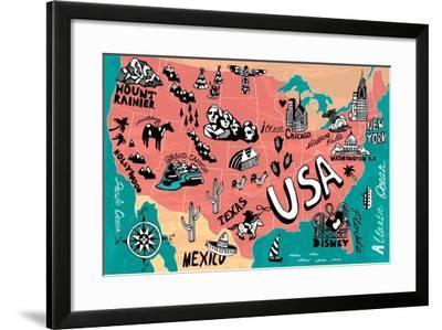 Illustrated Map of USA-Daria_I-Framed Art Print