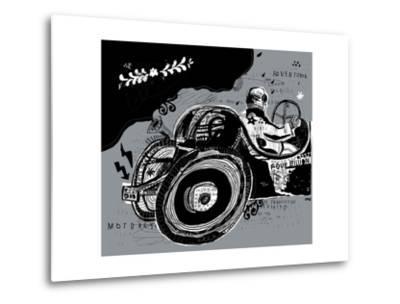 Symbolic Image of an Old Sports Car-Dmitriip-Metal Print