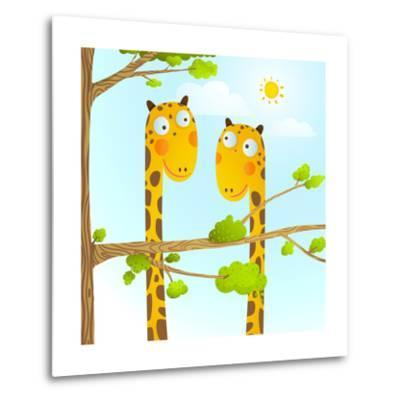 Fun Cartoon Baby Giraffe Animals in Wild for Kids Drawing. Funny Friends Giraffes Cartoon in Nature-Popmarleo-Metal Print