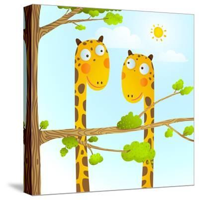 Fun Cartoon Baby Giraffe Animals in Wild for Kids Drawing. Funny Friends Giraffes Cartoon in Nature-Popmarleo-Stretched Canvas Print